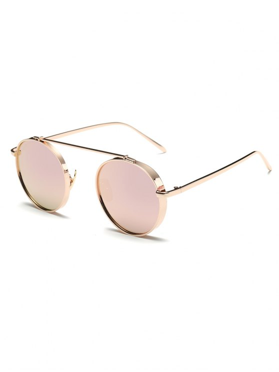 buy Chunky Frame Round Mirrored Sunglasses - PINK