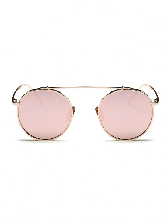 Chunky Frame Round Mirrored Sunglasses - PINK  Mobile