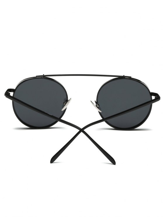Chunky Frame Round Sunglasses - BLACK  Mobile