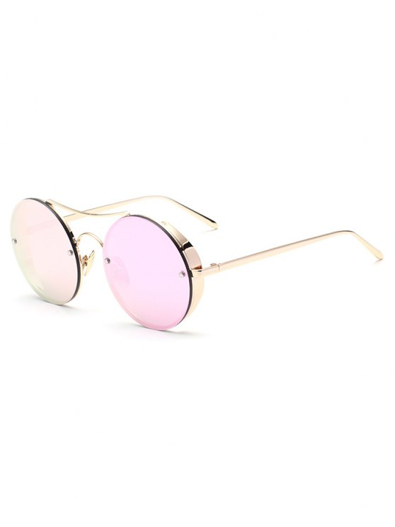 Chunky Round Frame Mirrored Sunglasses - PINK  Mobile