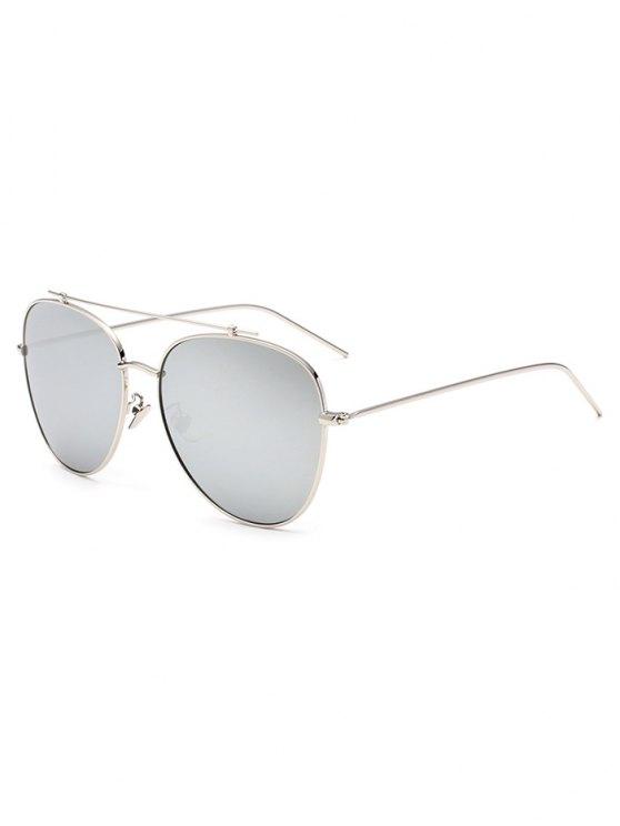 Crossbar Pilot Mirrored Sunglasses - SILVER  Mobile