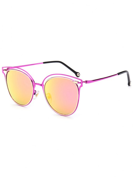 Double Rims Cat Eye Mirrored Sunglasses - VIOLET ROSE  Mobile