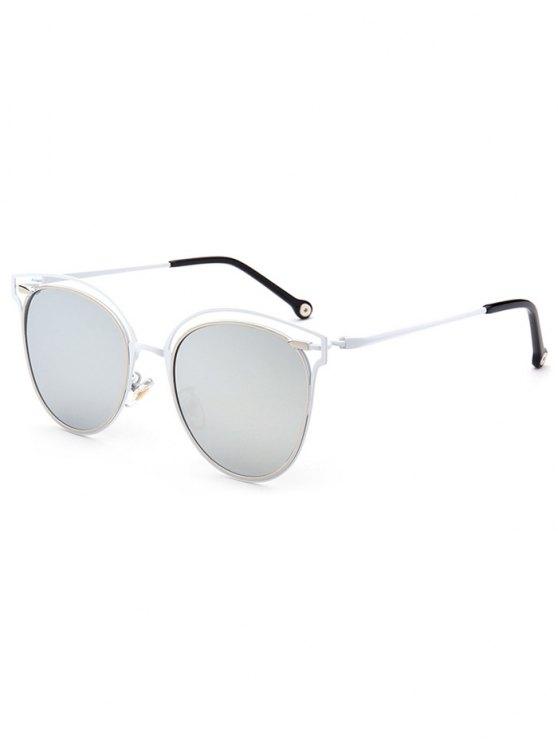 Double Rims Cat Eye Mirrored Sunglasses - SILVER  Mobile