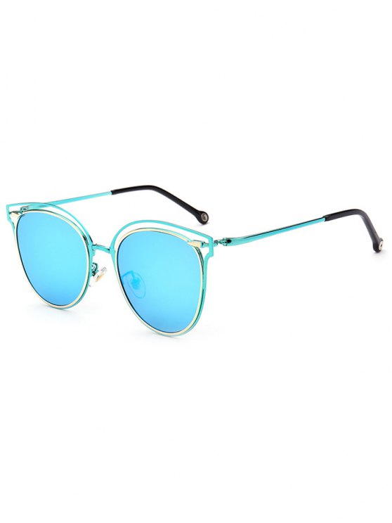 Double Rims Cat Eye Mirrored Sunglasses - ICE BLUE  Mobile