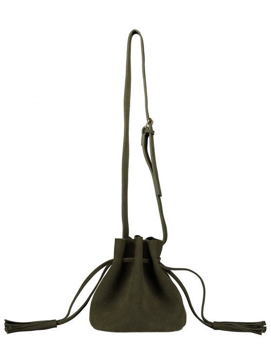 Drawstring Tassel Bucket Bag - BLACKISH GREEN  Mobile