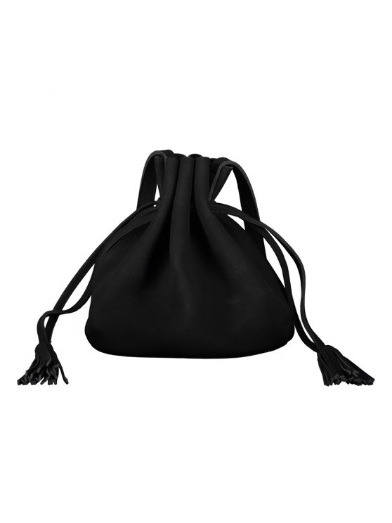 Drawstring Tassel Bucket Bag - BLACK  Mobile