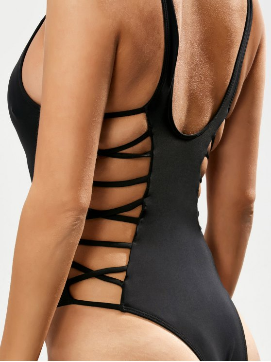 Crisscross Strap Cut Out Swimsuit - BLACK M Mobile