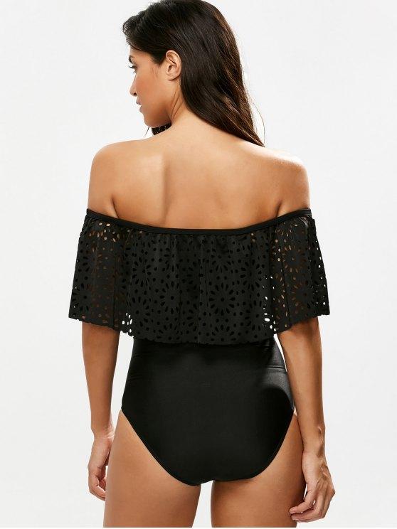 Laser Cut Off Shoulder Ruffle Swimsuit - BLACK L Mobile