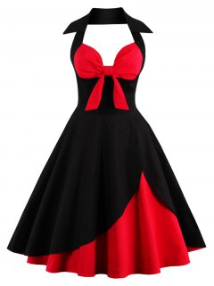 Halter Corset Vintage Rockabilly Swing Dress - Red With Black S