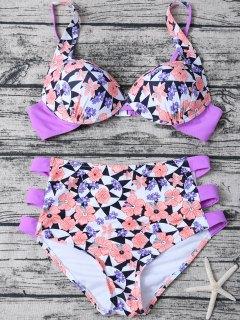 Geometric Floral Print High Waisted Bikini - Multicolor M