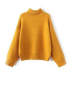 Drop Shoulder  Chunky Turtleneck Sweater - Golden Yellow