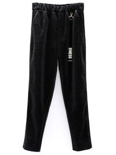Siness Elastic Waist Velvet Pants - Black