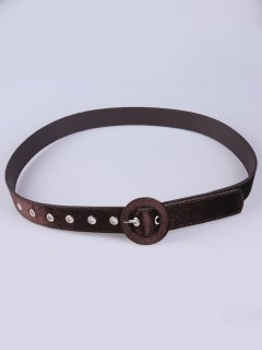 Faux Leather Velvet Belt - Coffee