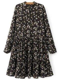 Mandarin Collar Floral Long Sleeve Dress - Black S