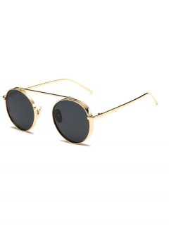Chunky Frame Round Sunglasses - Golden