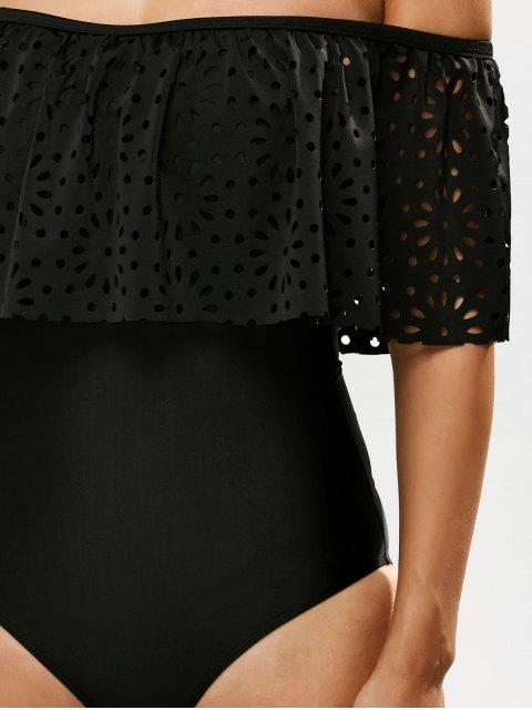 womens Laser Cut Off Shoulder Ruffle Swimsuit - BLACK S Mobile