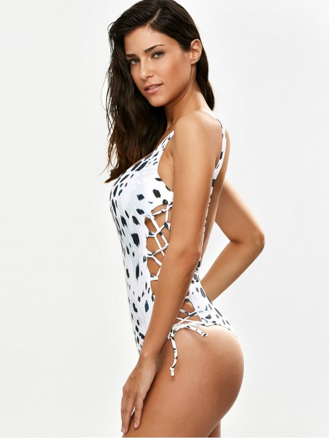 lady Irregular Spot Side Lace Up Swimsuit - WHITE S Mobile