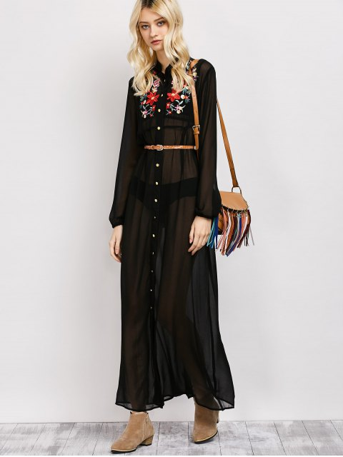 buy Embroidered Sheer Maxi Shirt Dress - BLACK L Mobile