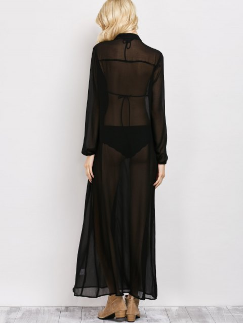 womens Embroidered Sheer Maxi Shirt Dress - BLACK M Mobile