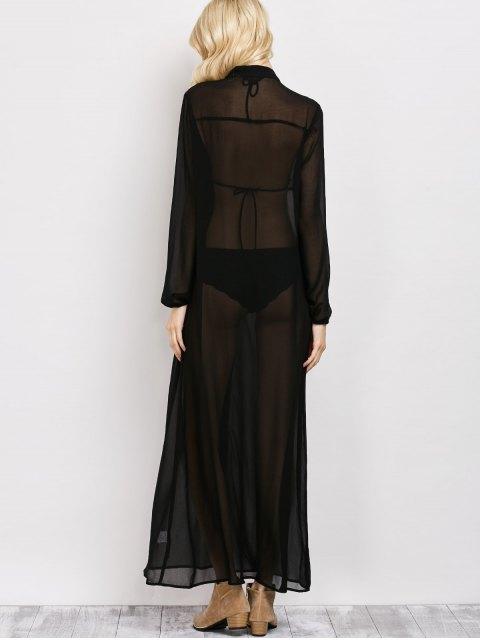 women Embroidered Sheer Maxi Shirt Dress - BLACK S Mobile