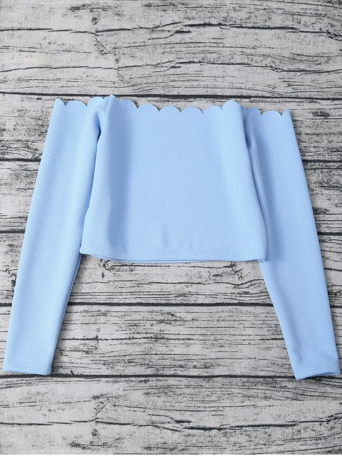 hot Three Piece Scalloped Bathing Suit - LIGHT BLUE XL Mobile