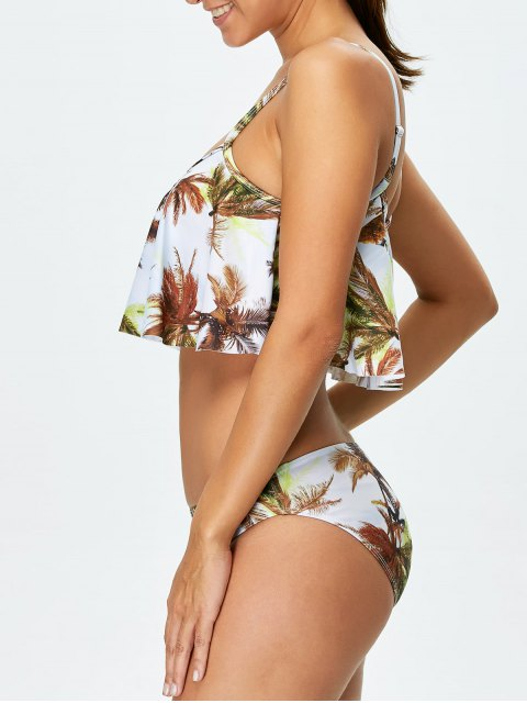 lady Coconut Palm Spaghetti Straps Padded Bikini - WHITE XL Mobile