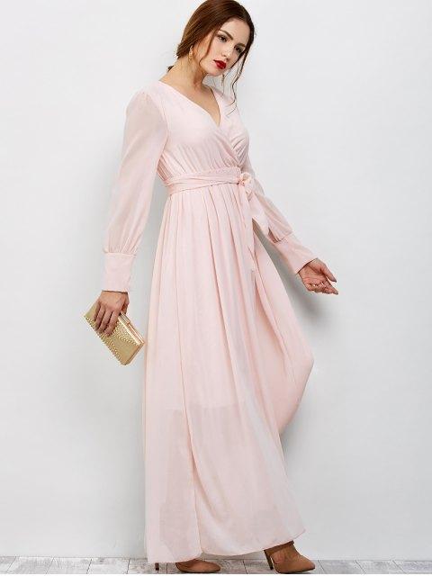 women's Belt Maxi Surplice Dress - PINK L Mobile