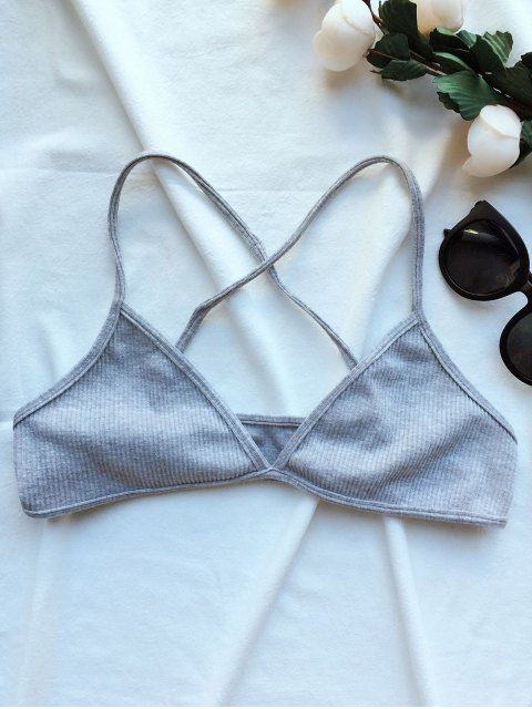 outfits Crossed Straps Ribbed Unlined Bra - GRAY ONE SIZE Mobile