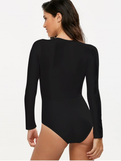 affordable Long Sleeved Lacing Plunge Swimsuit - BLACK L Mobile