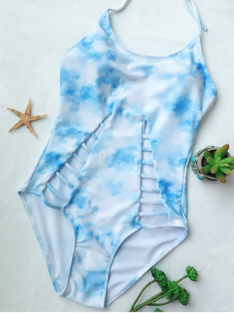 women Cutout Tie-Dyed One-Piece Swimwear - LIGHT BLUE L Mobile