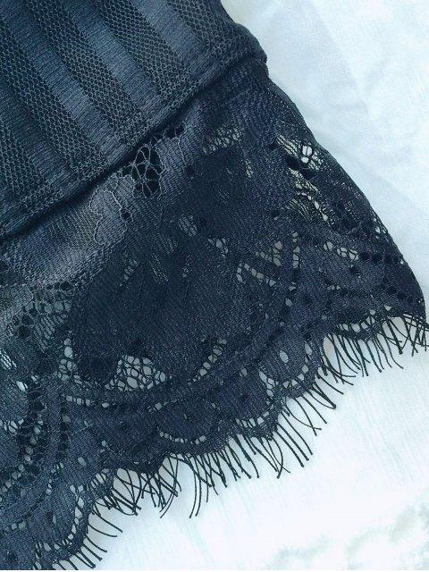 shop Scalloped Lace Panel Bra - BLACK XL Mobile
