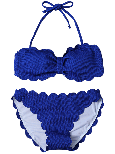 affordable Three Piece Scalloped Bathing Suit - SAPPHIRE BLUE M Mobile