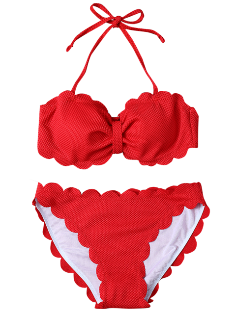 women's Three Piece Scalloped Bathing Suit - RED XL Mobile