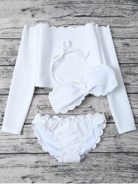 online Three Piece Scalloped Bathing Suit - WHITE L Mobile