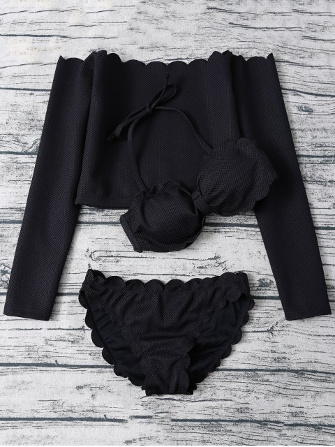 women Three Piece Scalloped Bathing Suit - BLACK M Mobile
