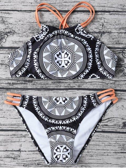 shop Strappy Top Aztec Print High Neck Bikini - WHITE AND BLACK L Mobile