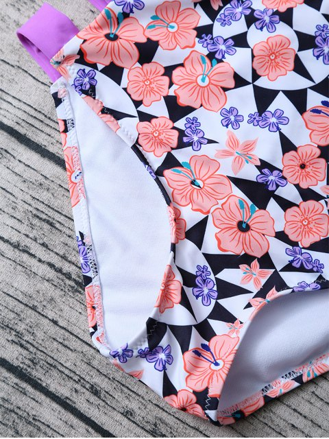 lady Geometric Floral Print High Waisted Bikini - MULTICOLOR S Mobile
