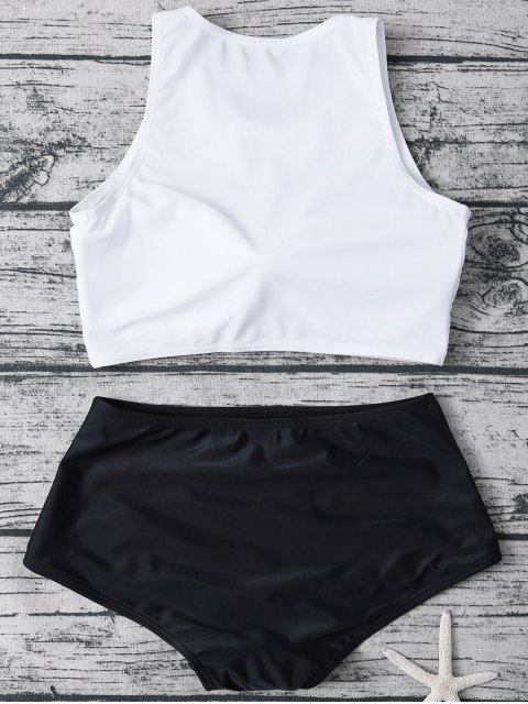 women High Neck Boyshort Bikini - WHITE AND BLACK M Mobile