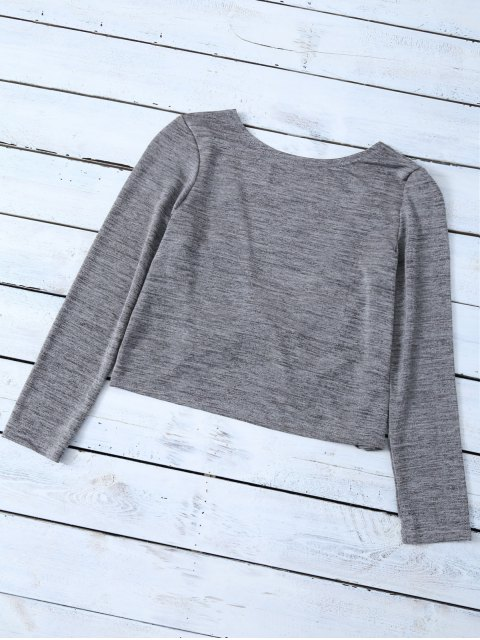 shop Heathered Long Sleeve Twist T-Shirt - GRAY L Mobile