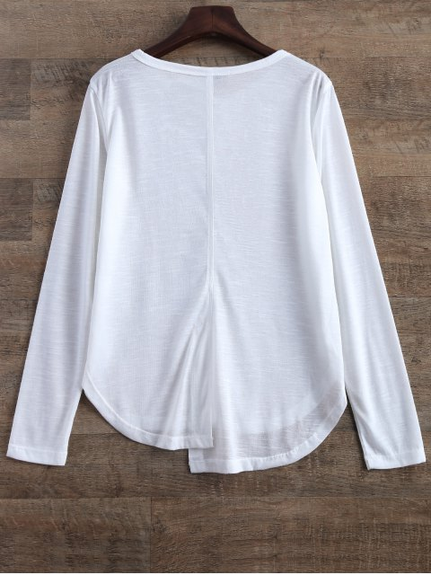 hot Slit Asymmetrical T-Shirt - WHITE M Mobile
