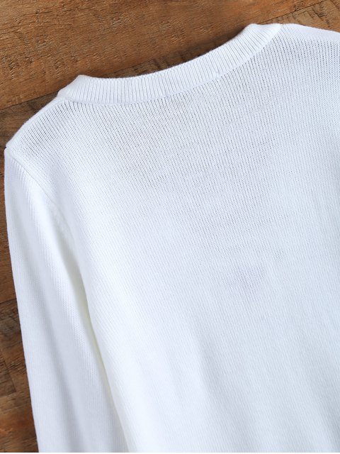shop Ribbed Cuffs Lace Up Sweater - WHITE XL Mobile