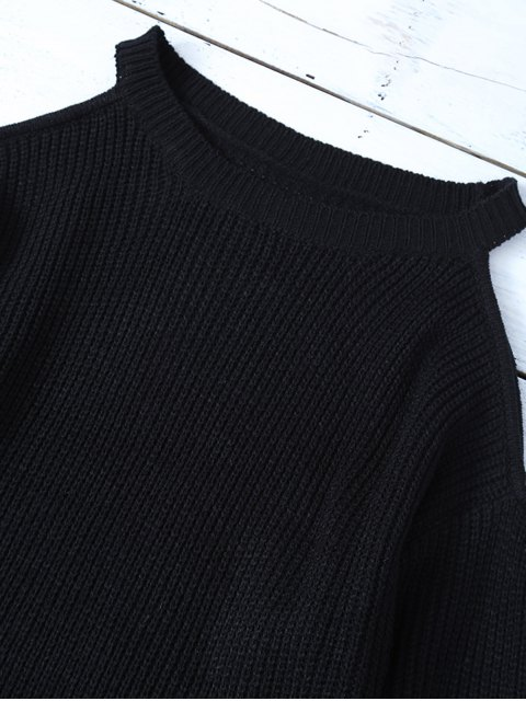 lady Chunky Cold Shoulder Sweater - BLACK ONE SIZE Mobile