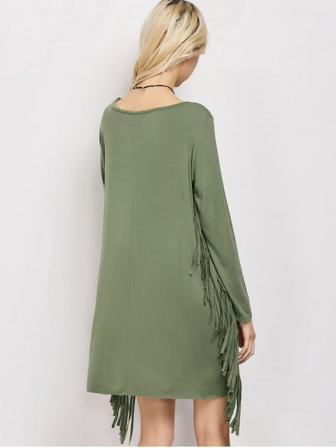 latest Long Sleeves Fringed Shift Dress - ARMY GREEN XL Mobile