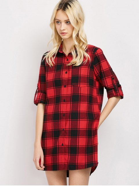 women Checked Long Shirt - RED XL Mobile