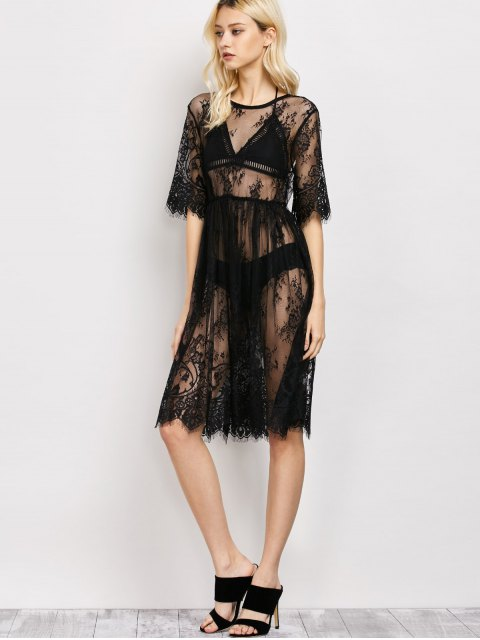 ladies Scallopped See-Through Lace Dress - BLACK L Mobile
