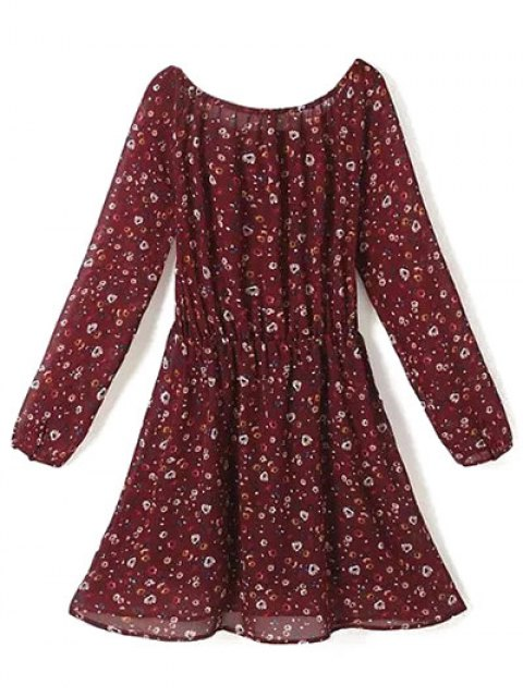 new A Line Floral Long Sleeve Chiffon Dress - CLARET L Mobile