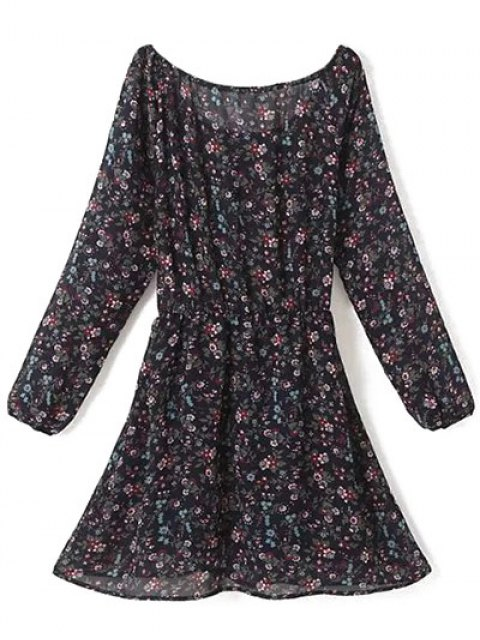 shop A Line Floral Long Sleeve Chiffon Dress - PURPLISH BLUE M Mobile