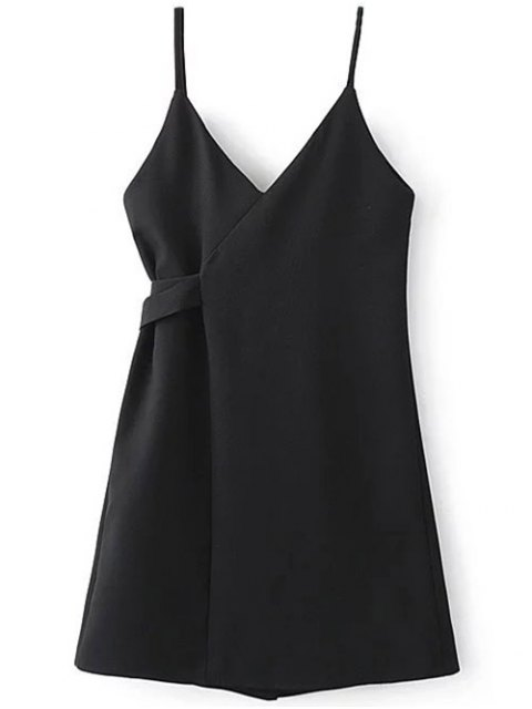 women A Line Wrap Slip Dress - BLACK L Mobile