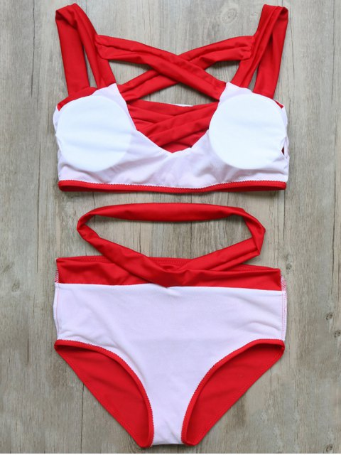 outfit Crossover Cutout Bikini Set - RED L Mobile