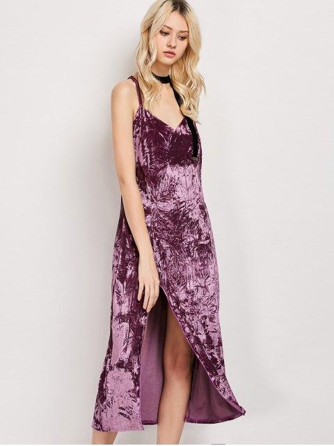 fashion Low Cut Velvet Midi Cami Slip Dress - FUCHSIA ROSE M Mobile